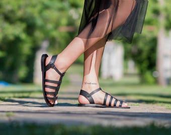 Sandales en cuir, Sandales femme, sandales grecques, sandales gladiateur faible, sandales à la main pour femmes, Sandales noires, chaussures d'été, sandales romaines