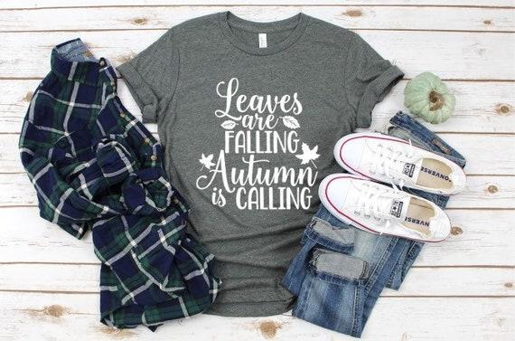 Womens Fall Tee Autumn Leaves Shirt Super soft Bella