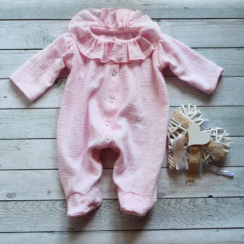 6ec76531a Baby girl footed romper muslin 0 3 months baby clothes | Etsy