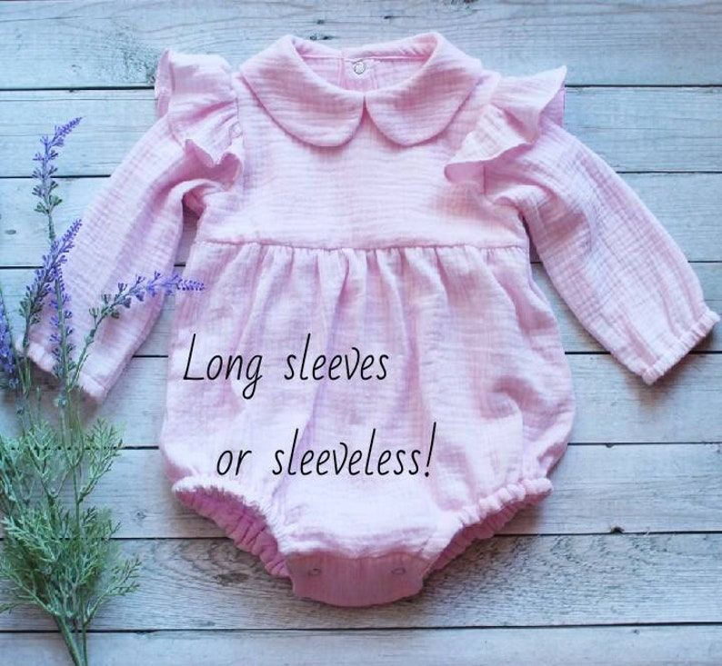d7be1b3fc Baby girl romper easter baby outfit natural muslin baby   Etsy