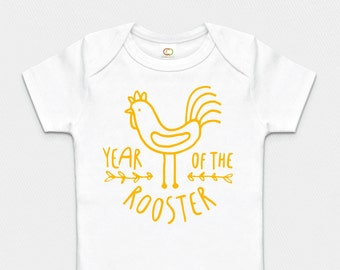 Premium Organic Year of the Rooster Bodysuit - Yellow, Pink or Blue