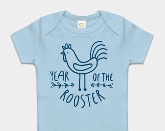 Premium Organic Year of the Rooster Bodysuit - Blue or Purple