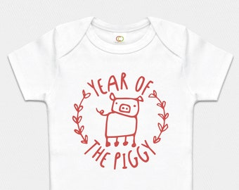 Organic Year of the Rat Onesie Red Pink or Blue