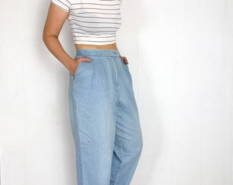 Vintage 80s Mom Jeans 26 High Waisted Jeans Womens XS 80s Baggy Jeans 26 Light Wash Mom Pants Tapered Jeans W26 Loose Fit Light Blue Jeans