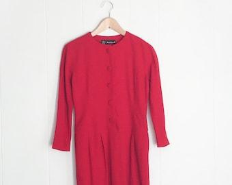 Vintage Red Dress - Wool Dress - Long Sleeve Dress - 1980s Dress  - Red Dress - Long Sleeve Midi Dress - Dress with Pockets - Vintage Dress