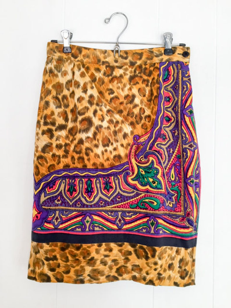 Versus Gianni Versace Vintage Versace Versace Skirt VINTAGE VERSACE Women Leopard Print Skirt Designer Vintage