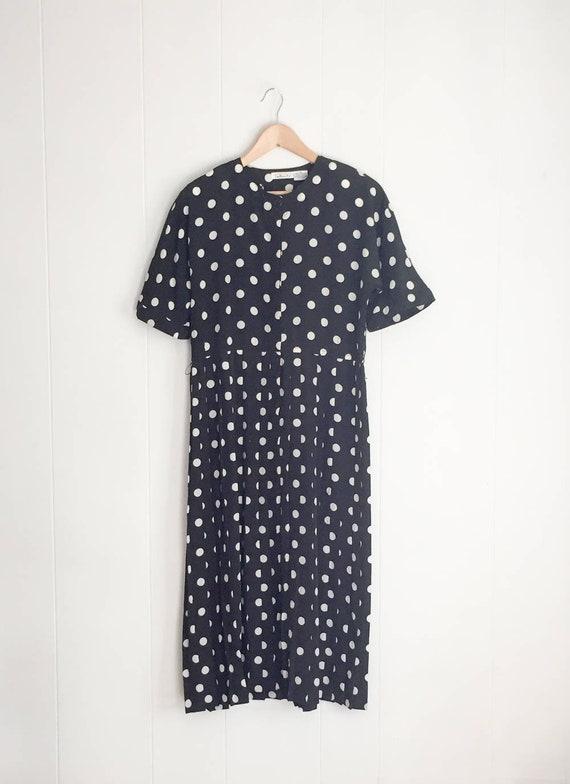 Polka Dot Dress - VIntage Dress - 80s Dress - Plus Size Vintage - Dress  Women - Short Sleeve Dress - Boho Dress- 1980s Summer Dress- Pleated