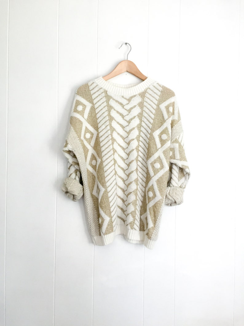 ee3420db869 Vintage Sweater - Slouchy Sweater - Gold and White - Oversized Sweater -  Chunky Knit Sweater - Boho Jumper - 80s
