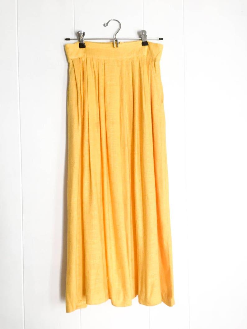 e1da316acd Falda vintage de Maxi falda larga amarilla falda falda de