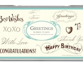 Cavallini and Co Greetings Rubber Stamp Set, Rubber Stamps, Stationery, Gift Wrapping, Craft Supplies, Wedding Decorations, Scrap Booking