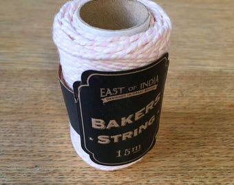 Pink and Ivory Baker's Twine, Baker's Twine, String, Stationery, Stationary, Gift Wrapping, Craft Supplies, Wedding Decor, Pink String