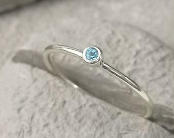 Blue Topaz November birthstone 9ct recycled yellow or white gold skinny gemstone stacking ring
