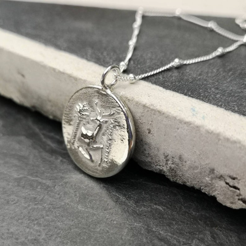 Greek coin solid silver bobble Chain necklace  worker bee coin necklace  relic necklace Greek coin jewellery  stag Greek coin Ephesus