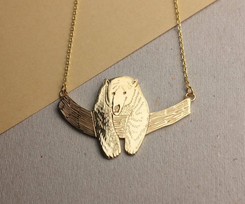 Gold Bear Pendant Gold Plated Necklace Douglas the Bear Animal Necklace Bear Pendant Illustrative Necklace