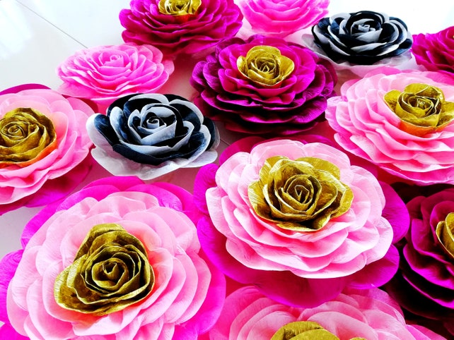 Large crepe paper flowers kate bridal baby shower spade photo etsy image 0 mightylinksfo