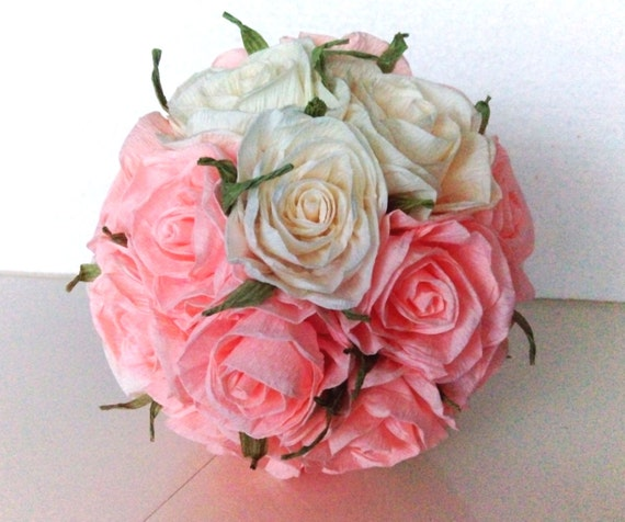 Crepe paper flowers kissing ball girl table decor pale pink etsy image 0 mightylinksfo