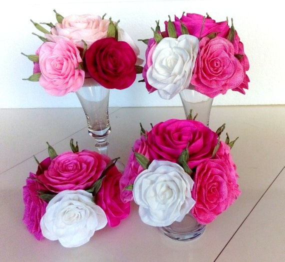 Paper Flowers Centerpieces Table Bouquet Kate Bridal Baby Etsy