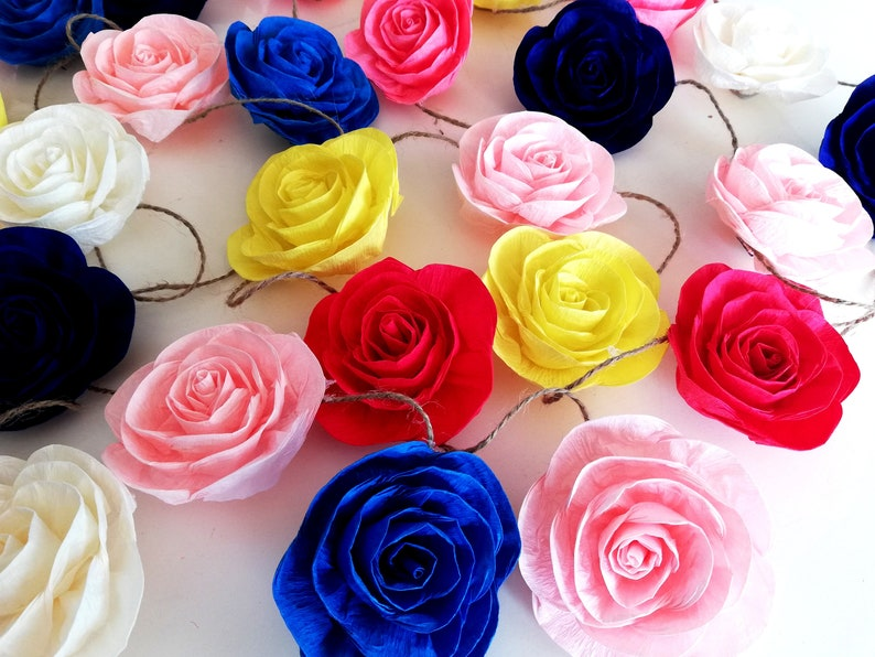 Strands Backdrop Rose Paper Flowers Garland Wedding Mexican Fiesta Photo Garland Wall Decor Rustic Bridal Baby Shower Cake Table