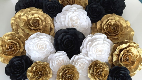 crepe paper Flowers wall decor black gold white large Giant   Etsy