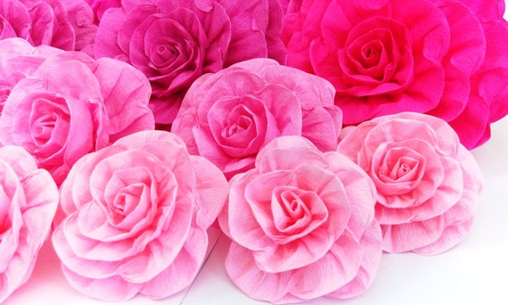 12 Large Crepe Paper Flowers Wall Decor Kate Bridal Spade