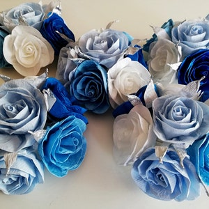 Centerpieces Blue Baby Shower Boy Prince Paper Flowers Table Bouquet Under Sea Wedding decor bridal party birthday baptism christening beach