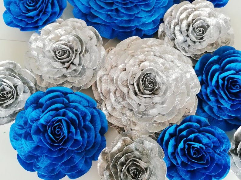 Royal Navy Blue Silver Boy Baby Large Paper Flowers Wall Etsy