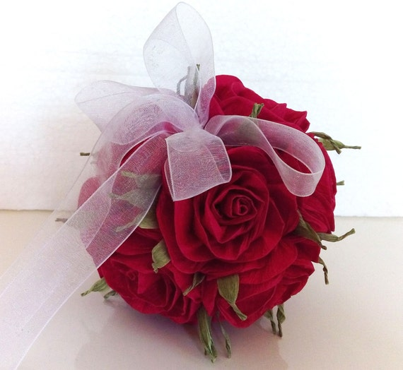Royal red cherry crepe paper roses flowers ball kissing ball etsy image 0 mightylinksfo