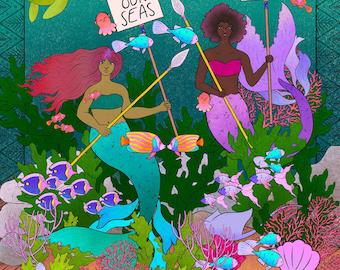 Defenders of the Seas Mermaid Artwork | Mermaids and Coral Reef Art Print | Mermaid Ocean Wall Art | Kid's Mermaid Art | Children's Room Art
