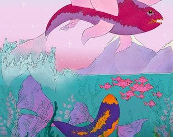 Flying Koi Fish Mountain Lake Art Print | Fish Illustration | Travel Art | Nature Artwork | Blue Wall Decor | Fish Art | Koi Fish Wall Art