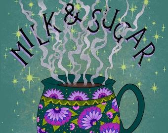 Milk and Sugar Cup of Tea / Coffee Print | Coffee Art | Tea Art | Kitchen Wall Art | Kitchen Decor | Food Wall Art | Kitchen Wall Decor