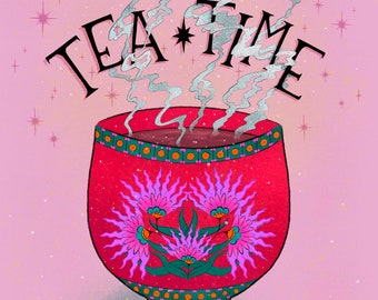 Tea Time Art Print | Cup of Tea Art | Tea Time Kitchen Wall Art | Teacup Illustration | Daily Rituals | Tea Print | Kitchen Decor Art Print