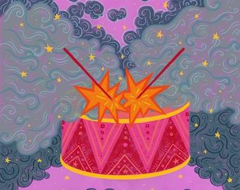 Magic Drum Art Print | Kids Room Music Wall Art | Children's Room Music Decor | Nursery Wall Art | Music Wall Art | Music Artwork Kids Decor