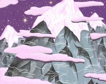 Snowy Mountain Peaks Art Print | Kids Room Art | Children's Room Art | Snowy Mountains Art | Kids Room Decor | Children's Room Wall Art