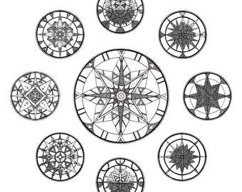 Lunar Cycle Giclee Black and White Geometric Art Print | Moon Phase Artwork | Monochrome Moon Art Painting | Moon Cycle Wall Art Home Decor