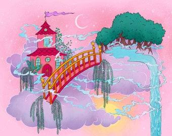 Dreamland Art Print | Kids Bedroom Decor Print | Childhood Fantasy Castle | Princess Palace Artwork | Magical Children's Illustration