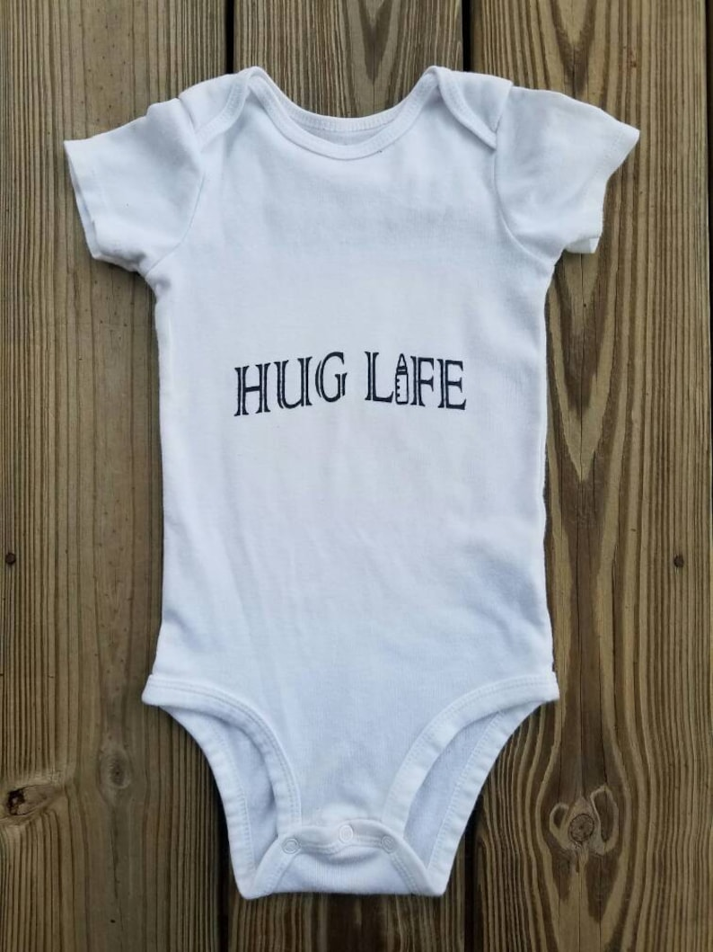b86a0561392 Hug Life Baby Bodysuit  Thug Life Baby  2pac Baby Bodysuit
