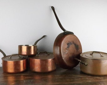 8 piece Les Metaux Ouvres, Made in France, Copper Cooking Ware Set