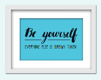 Be yourself - digital download, hand lettering / typography / 13 x 18 cm / PDF and JPG