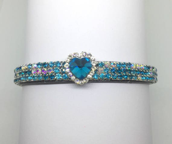 Sugarlicious Pets ™ ~Aqua Blue & Aurora Heart Valentine~ Crystal Rhinestone Dog Pet or Cat Safety Glitter PU Leather Collar Opt Leash USA!