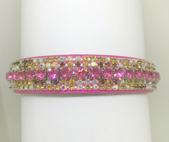 Sugarlicious Pets  ® ~Cherry Cordial~ Pink & Brown Aurora~ Diamante Bling Rhinestone Dog Pet Glitter PU Leather Collar Wide LARGE Stones USA