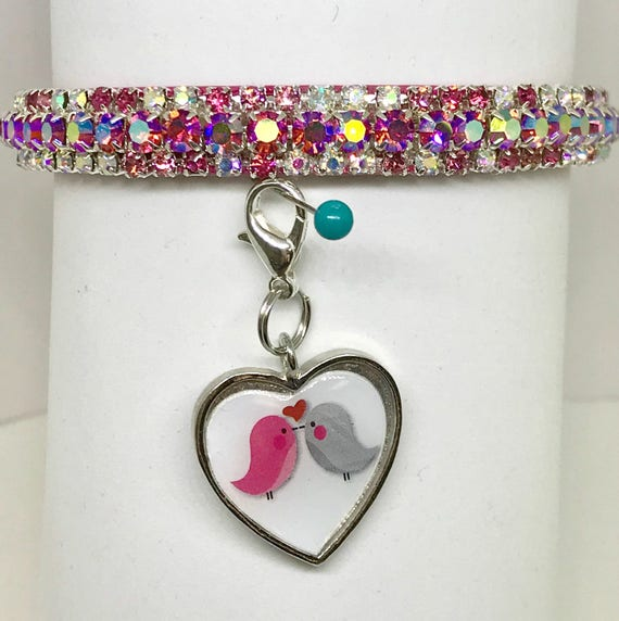 Bling Sugarlicious Pets ™ ~Pink  Heart Valentine Love~ Crystal Rhinestone Dog Pet or Cat Safety Glitter PU Leather Collar Opt Leash USA!