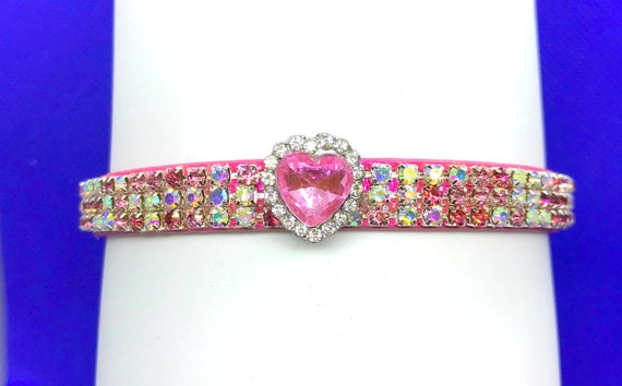 Sugarlicious Pets ™~Rose Pink Aurora Heart Valentine~ Bling Crystal Rhinestone Dog Pet or Cat Safety Glitter PU Leather Collar Opt Leash USA