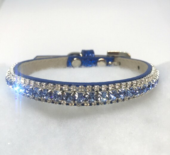 Bling Sugarlicious Pets ™ ~Baby Blue Sapphire & Diamonds~ Crystal Rhinestone Dog Pet Or Cat Safety Collar FREE Snowflake Charm  USA