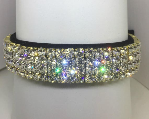 Bling Sugarlicious Pets ™  ~Opulent Diamonds & Black Velvet ~ Crystal Diamante Rhinestone Dog Pet Collar WIDE with LARGE Stones USA