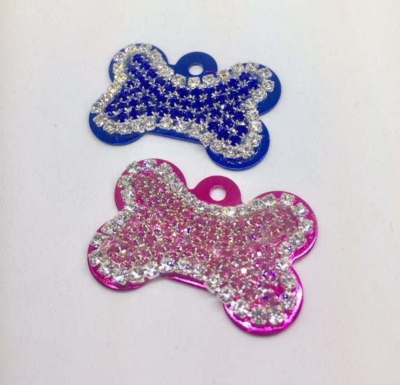Bling Engravable Personalized Dog Pet Pink Blue Purple Bone Engraved  ID Tags - High Quality Crystal Rhinestone - 5 Fonts!