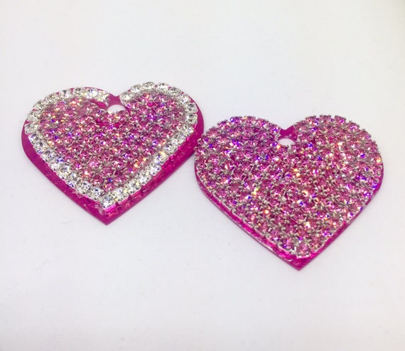 Bling Large Engravable Personalized Dog Pet Cat Pink Heart Engraved ID Tags - High Quality Crystal Rhinestone - 5 Fonts!