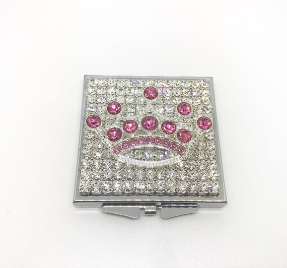 Bling Pink or Purple Crown Princess Square Fancy Crystal Rhinestone Compact Purse Makeup Mirror Case USA Beautiful!