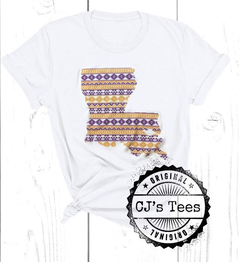 Purple and Gold Aztec Louisiana T-Shirt Louisiana Tribal Print Tee