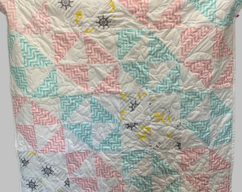 Windmills baby quilt, pastel baby quilt, sailor and stripes baby quilt