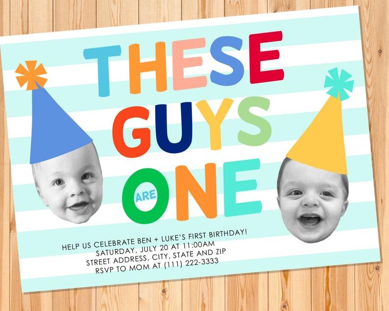 twins first birthday invitation twin boys birthday  etsy